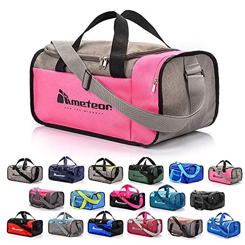 meteor Borsa per Palestra per la Piscina - Borsone da Viaggio - Una borsa sportiva spaziosa e comoda e per weekend, campeggio, ogni viaggio - con tracolla (20L) e (40L) (Grigio/rosa, 20L)