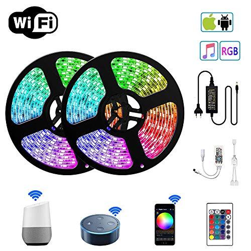 WiFi LED Stripes Streifen Bänder Farbwechsel Selbstklebend Lichtband mit Ferbedienung und Smart WiFi Kontroller, steuerbar via App, 12V 24W für Haus, Garten, Dekoration EINWEG (10m)