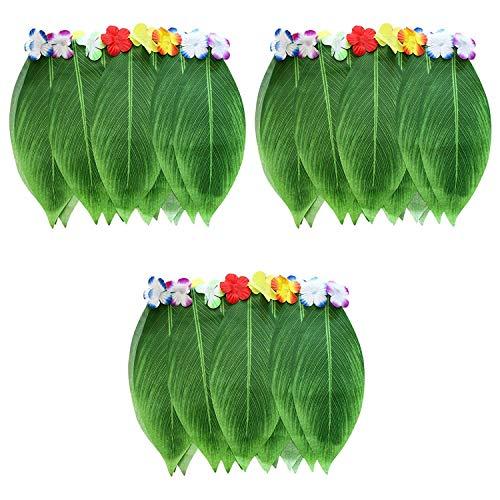 Hula Blattrock (3 Pcs) - 35cm (Lange) Hawaii Blattrock mit künstlichen Blumen für Strand Luau Party Supplies, Tanzen Kostüm - Blatt Hawaii Röcke - Elastischer Hula Rock für Frauen, Kinder