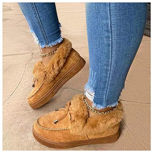 Corashoes - Botas planas de moda casual cálidas para invierno, gruesas y duraderas, zapatos de invierno, bonitos y cálidos, zapatos de ante, botas de nieve, zapatos de plataforma, G, EE.UU.: 12