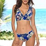 GPQHSM Bikini For Mujer con Relleno Push-up Sujetador del Bikini Set Impreso Traje de baño Traje de baño del Traje de baño Ropa de Playa Traje de baño de la Playa del Desgaste del Verano