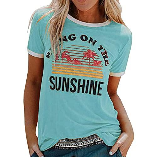 Camiseta para Mujer Camiseta Deportiva para Mujer Camiseta de Manga Corta con Cuello Redondo y Estampado de cocotero Tops Sudadera Rayas Camisa Extragrande Blusa de Jersey para Mujer Corte Holgado