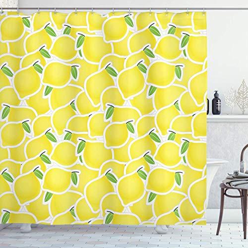 N \ A Gelber Duschvorhang, Illustration eines Straußes von Zitrusfrüchten, Bilder & Formen, Natur-Kunstdruck für Wohnen, Stoffstoff, Badezimmer-Dekor-Set mit Haken, 152,4 x 182,9 cm, grün-gelb