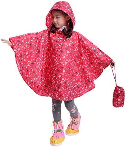 Spmor Kids Rain Poncho Hooded Jacket Rain Coat Pink Star L Fits Height 49 2 59 0 product image