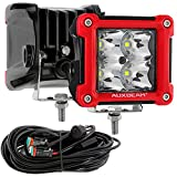 Auxbeam Motorcycle LED Fog Light Pods with DT Wiring Harness Kit, Plug and Play 3' 20W LED Cube Driving Lights Square Off Road Spot Light Ditch Lights for Truck Jeep SUV 2Pcs