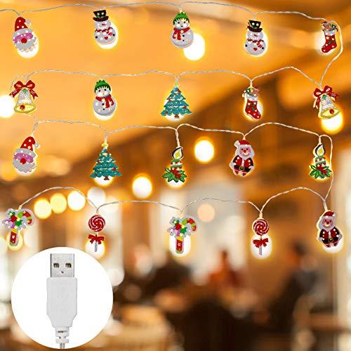 Luci Natalizie a LED, KEEHOM Catena Stringa Luminosa con 20 Luci Figure e Modelli di Natale, Decorazioni per Interni ed Esterni, Alimentazione USB