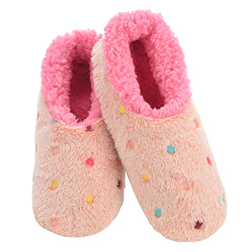 Snoozies Slippers for Women | Lotsa Dots Colorful Cozy Sherpa Slipper Socks | Womens House Slippers | Cozy Slippers for Women | Fuzzy Slippers | Peach | Large