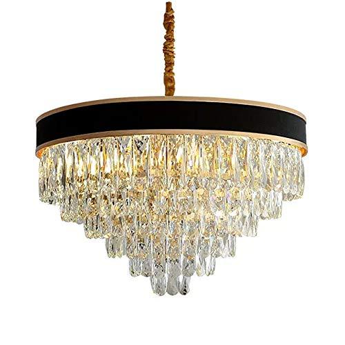 Moderno Cristal Lámparas De Araña,Oro Lujoso LED Lampara Colgante E14 Altura Ajustable Semi Flush Lámpara De Techo Para Sala De Estar Comedor-Negro y oro 80x50cm