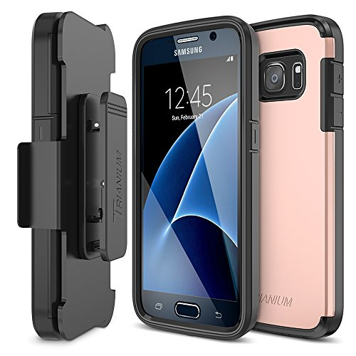 Galaxy S7 Case, Trianium [Duranium Series] Heavy Duty Case [Rose Gold] Holster Case Belt Clip + Protective Cover with Built-in Screen Protector for Samsung Galaxy S7 2016(TMS7D04)