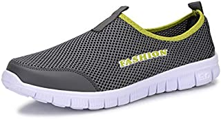 KKEPO& Men Summer Casual Air Mesh Shoes Large Sizes Lightweight Breathable Slip-on Flat