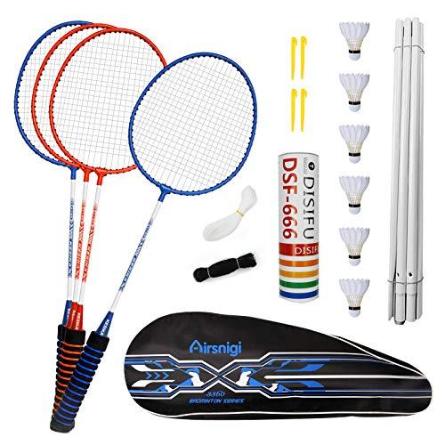 Airsnigi Speed Badminton Set, 4er Profi Badmintonschläger mit 4 Federbälle, Leichtgewicht Badminton Schläger Federballschläger Set für Kinder Training, Sport und Unterhaltung mit Schlägertasche