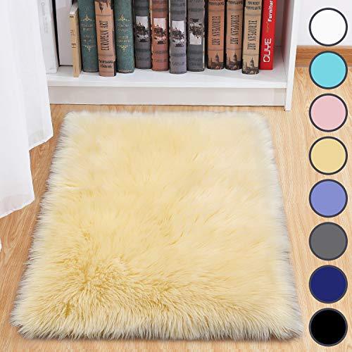 junovo Luxury Fluffy Area Rugs Furry Rug for Bedroom Faux Fur Sheepskin Nursery Rugs Fur Carpet for Kids Room Living Room Home Decor Floor Mat, 2ft x 3ft Pale Yellow