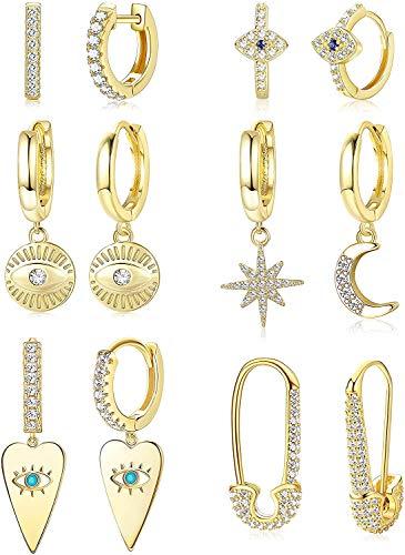 Adramata 6 Paia Di Orecchini a Cerchio Huggie Per Donna Orecchini Pendenti Con Luna e Stella Orecchini Pendenti In Oro Orecchini Pendenti In Oro Per Donna