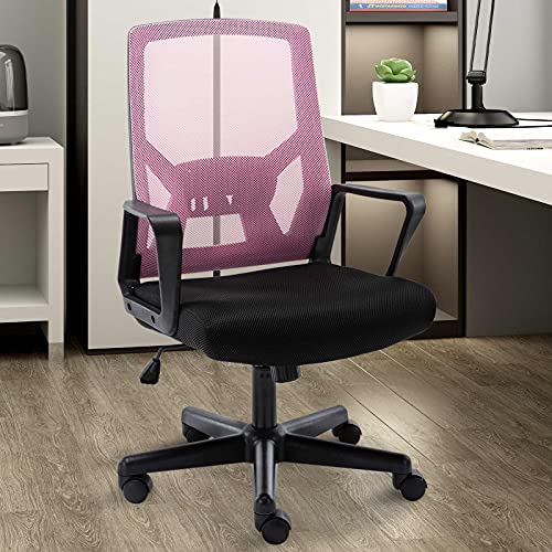 Ergonomic Office Chair with Foldable Backrest, Mesh Home Office Computer Task Desk Chairs with Adjustable Height,Lumbar Suppor and 360 Degree Universal Wheels (Pink)