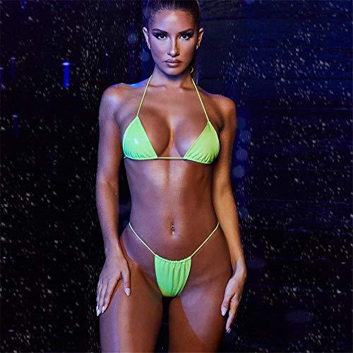 Bikini 2Pcs Sexy Micro Bikini String Frauen Bikini Set Pu BH Krawatte G-String Tanga Strand Dreieck Anzug Frauen Badeanzug Bronzing Biquini Set L Grün1