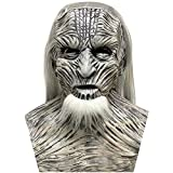 The White Walkers Mask with Long Hair Neckline The Others Scary Evil Demon Full Head Latex Cosplay Mask Halloween Props