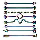 GuDeKe Set de 8 Piezas Acero Inoxidable Barra con Pesas para Mujeres Hombres Industrial Pendiente de cartílago Joyería Piercing del Cuerpo