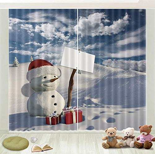 Nonebranded Bedroom Blackout Curtains Window Darkening Panel For Kitchen | Living Room | Boy Room - Snowman Sky White Cloudsh215 X W220 Cm