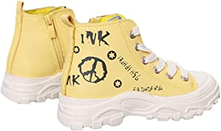 Hopscotch Boys and Girls PU Text Print Sneakers in Yellow Color