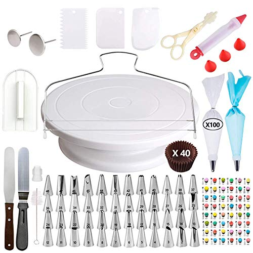 [205 pcs] Cake Decorating Supplies - Professional Cupcake Decorating Kit | Baking Supplies | Rotating Turntable Stand, Frosting & Piping Bags and Tips Set, Icing Spatula and Smoother, Pastry Tools