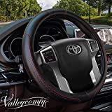 Valleycomfy 15.75 inch Auto Car Red Steering Wheel Covers- Genuine Leather for for F-150 Tundra Range Rover