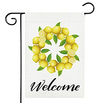 Lemon Wreath Mother's Day Welcome Garden Flag,Vertical Double Sided 12.5 x 18 Inch, Spring Summer Burlap Yard Outdoor Decor