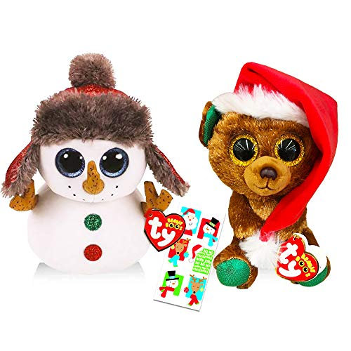 Ty Christmas Beanie Babies Boos Set -- Bundle Includes Ty Christmas Bear Nicolas, Ty Snowman Buttons, and Stickers