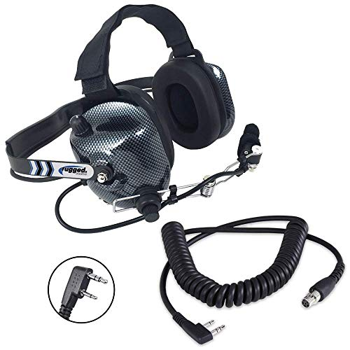Rugged Radios H41-CF Carbon Fiber Style Behind The Head Two Way Radio Headset with CC-Ken Coil Cord Cable for Rugged V3, RH5R, RDH, Baofeng & Kenwood 2-Pin Radios