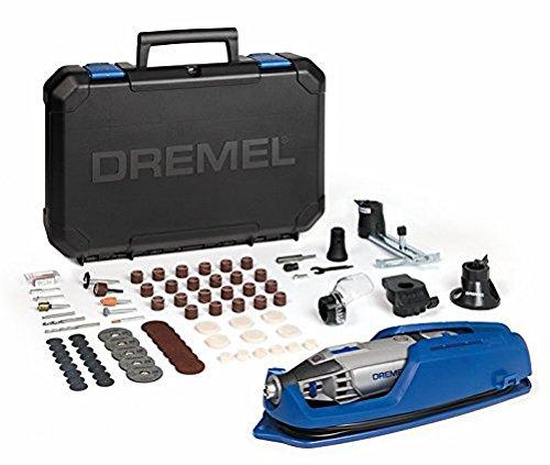 Dremel F0134200JE - Fresadora de conversión, en paralelo y de cortador circular, cubiertas protectoras-encabezamiento, portaherramientas, 75 accesorios, estuche
