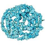 Mookaitedecor Howlite turquesa azul perlas de piedra pequeña, piedras decorativas pulidas con piedras irregulares para bricolaje, collar curación pulsera fabricación de joyas