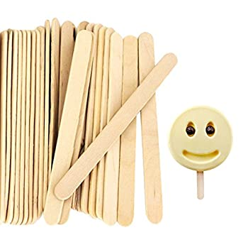 Acerich 200 Pcs Craft Sticks Popsicle Sticks Ice Cream Sticks 4-1/2  Length Treat Sticks
