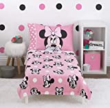 Disney Minnie Mouse - Blushing Minnie - 4 Piece Toddler Bed Set - Coral Fleece Toddler Blanket, Fitted Bottom Sheet, Flat Top Sheet, Standard Size Pillowcase