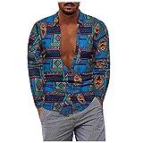 D-Rings Camisa para hombre de manga larga con bolsillo frontal, estilo hawaiano, azul, XXXL