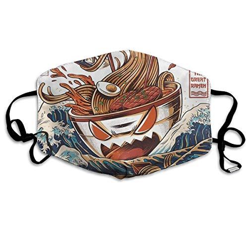 Multifunktionale Gesichtsschutzhülle,Lustige Coole Japan Japaner The Great Ramen Off Kanagawa Bedruckte Unisex Waschbare Wiederverwendbare Gesichtsdekorationen Für Den Persönlichen Schutz