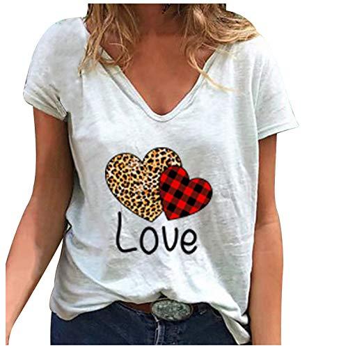 Camiseta de mujer de tallas grandes, blusa grfica, elegante, de manga corta, cuello en V, bsica, para verano, tnica, Blanco B, XXXXXL