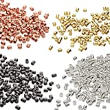 Beadsmith 4-Color Variety Pack Plated Crimp Tube Beads, 2x2 mm, 500-Pack