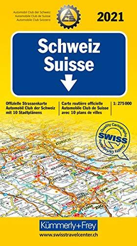 Schweiz ACS 2021: 1:275 000, Offizielle Strassenkarte Automobilclub der Schweiz mit 10 Stadtpläne (Kümmerly+Frey...