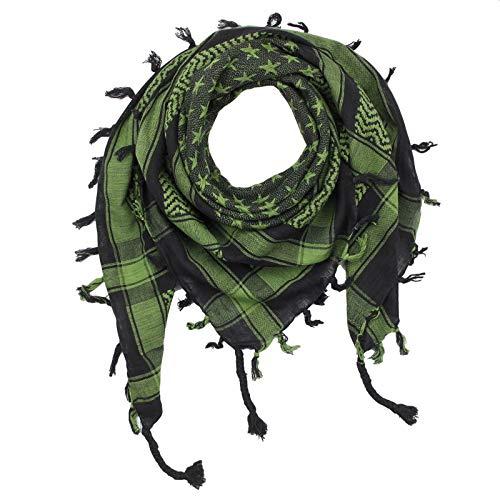 Superfreak Palituch - Sterne schwarz - grün-olivgrün - 100x100 cm - Pali Palästinenser Arafat Tuch - 100% Baumwolle