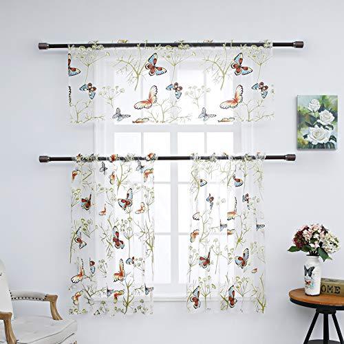 Annlaite 3-teiliges Schmetterlings-Vorhänge für die Küche, Gardinen und Volant, Set mit bedruckter Pflanze, kurzer Vorhang für Wohnzimmer, Schlafzimmer, Stangentasche, Fenster (1 Volant + 2 Etagen)