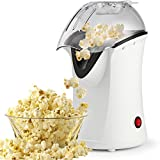 Hot Air Popcorn Maker,Popcorn Machine,Popcorn Popper 1200W,No Oil Needed, Including Measuring Cup and Removable Lid (White)