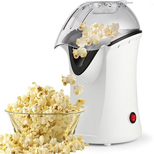 hamilton beach popcorn poppers Hot Air Popcorn Maker,Popcorn Machine,Popcorn Popper 1200W,No Oil Needed, Including Measuring Cup and Removable Lid (White)