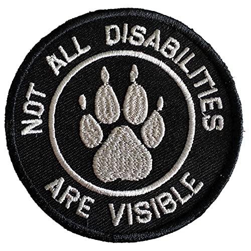 Service Dog Not All Disabilities are Visible Vests/Harnesses Emblem Embroidered Fastener Hook & Loop Patch (Paw Abilities)