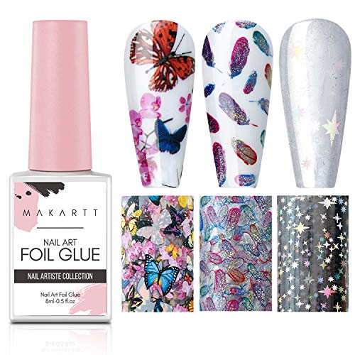 Makartt Nail Art Foil Glue Gel with Butterfly Laser Starry Feather Nail Stickers Set Nail Foil Transfer Tips Manicure Art DIY 8ML, 3 Rolls 4cm100cm Nail Decals