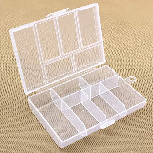 FUVOYA Caja de Almacenamiento Clear 6 Slot Compartimento plástico Craft Herramienta de joyería contenedor