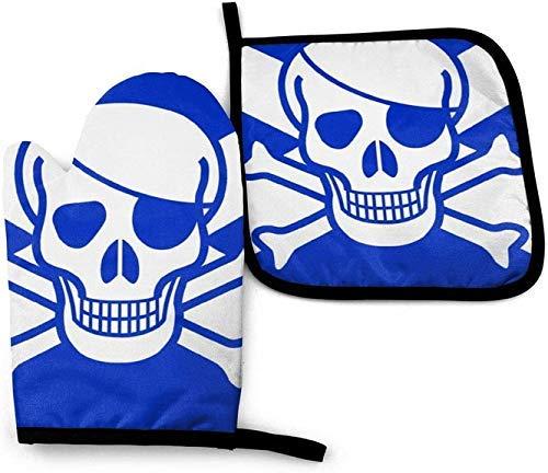 wenxiupin Bandera Pirata de Escocia Rayado húngaro DJ Skull Guantes de Horno de microondas y Porta ollas Juego de Cubierta Manta de Aislamiento t