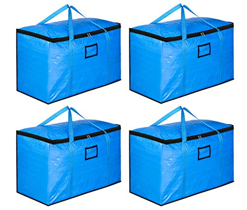 SLEEPING LAMB 110L Extra Large Moving Bags Heavy Duty Reusable Moving Totes Boxes Storage Containers for Clothes Comforters Blankets, Carrying, Travelling, College Dorm Packing, 4 Packs, Blue