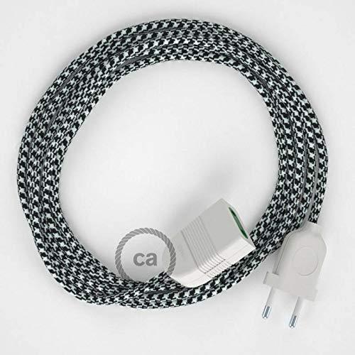 Rallonge électrique avec câble textile RP04 Effet Soie Bicolore Blanc-Noir 2P 10A Made in Italy. - 1.5 Mètres, Noir