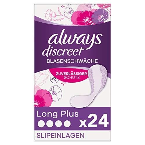 Always Discreet Inkontinenz-Slipeinlagen Long Plus (24 Stück) dünn und flexibel für diskreten Schutz bei leichter Blasenschwäche, mit OdourLock-Technologie