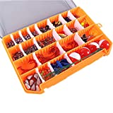 263Pcs Fishing Accessories Kit with Tackle Box,Fishing Tackle Kit Fishing Gear Including Jig Hooks, Beads, Swivel Snap, Fishing Weights Sinkers, Bobbers Float for Freshwater Saltwater