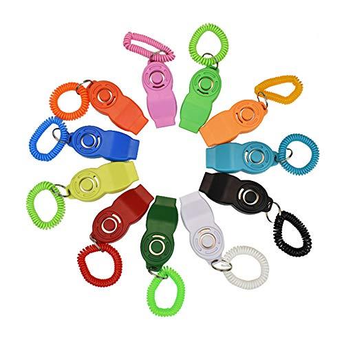 Clickers para perro, silbato para perro, color aleatorio, 2 piezas Clickers 2 en 1 y silbato herramientas de entrenamiento al aire libre para gato